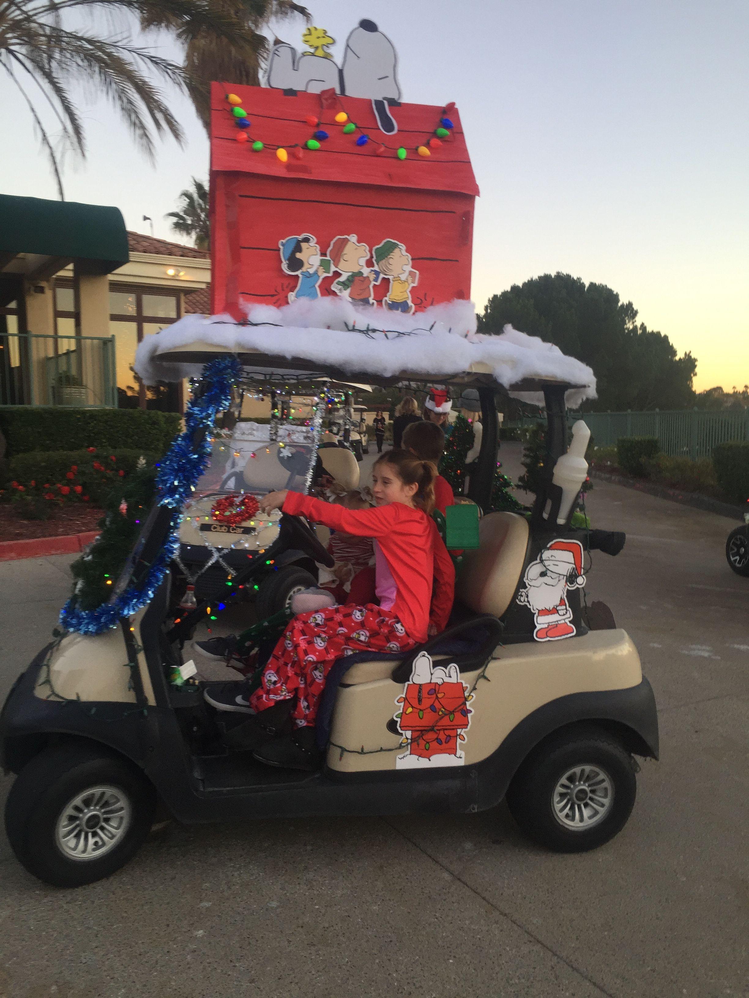 Snoppy Golf Cart Christmas Parade Golf Cart Decorations Golf Carts Christmas Golf