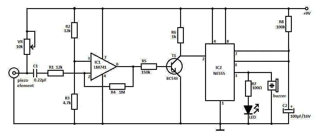 دائرة حساس الصدمات والاهتزازات بواسطة Piezo Electronic Bubble Detector Circuit Seismic