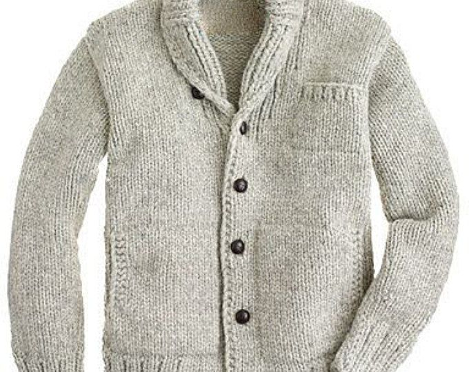 Men\'s hand knitted cardigan turtleneck sweater cardigan men clothing ...