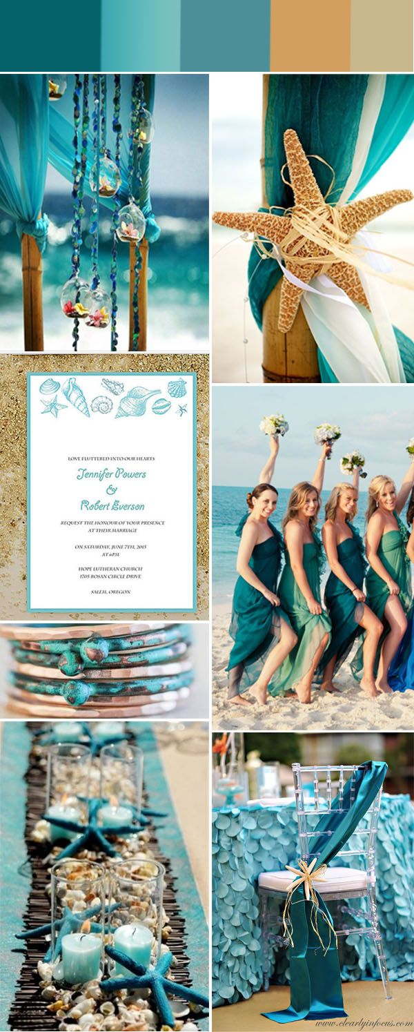 Gorgeous summer beach wedding color ideas with invitations for Summer beach decor