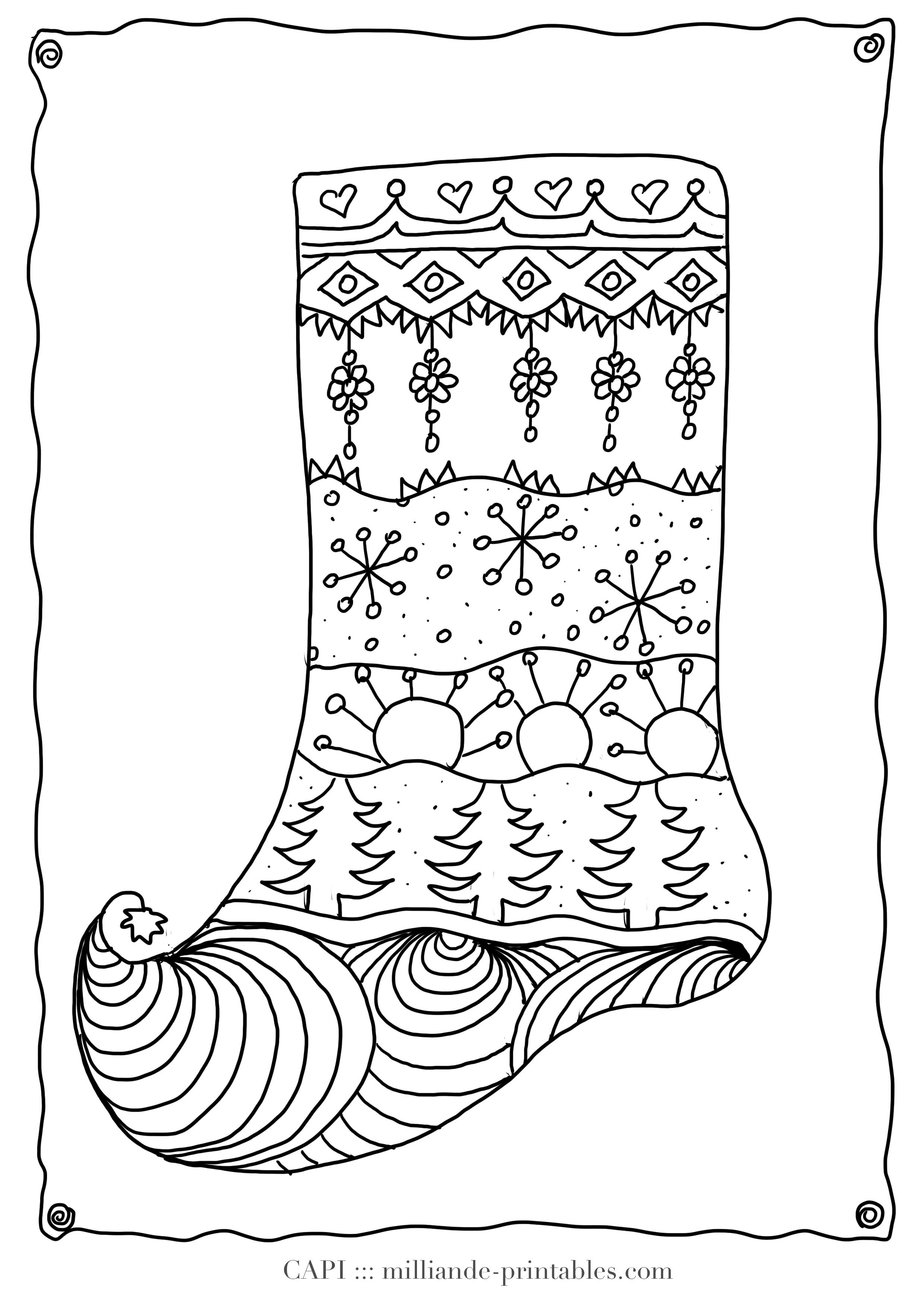 Christmas Coloring Page Stocking , Milliande\'s Original Free ...
