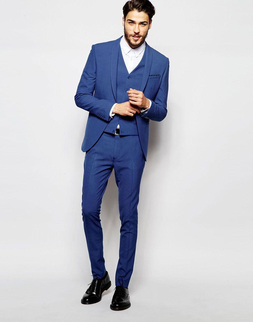 Wedding Super Skinny Suit Jacket In Mid Blue | Skinny suits ...