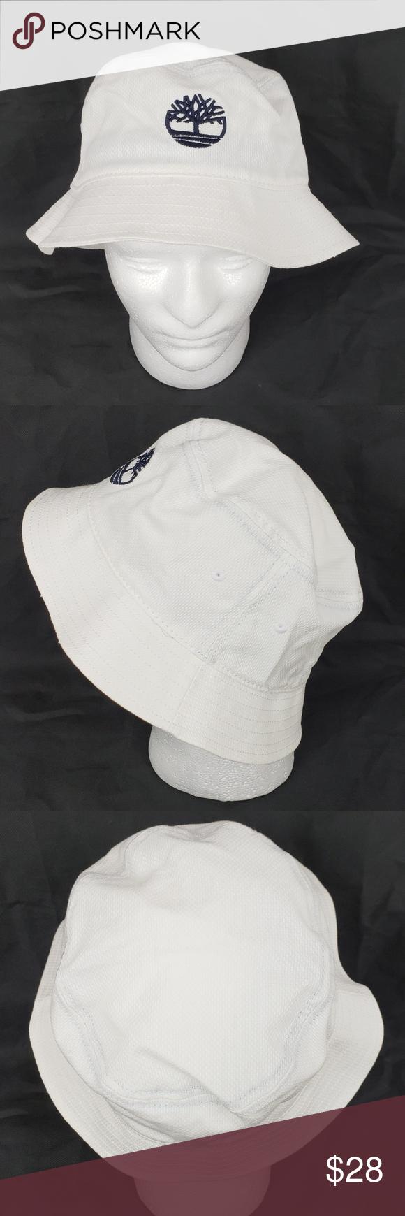 38af9679af5 Timberland Boot Company Bucket Hat Cap White NWT Timberland white bucket hat.  Navy blue logo