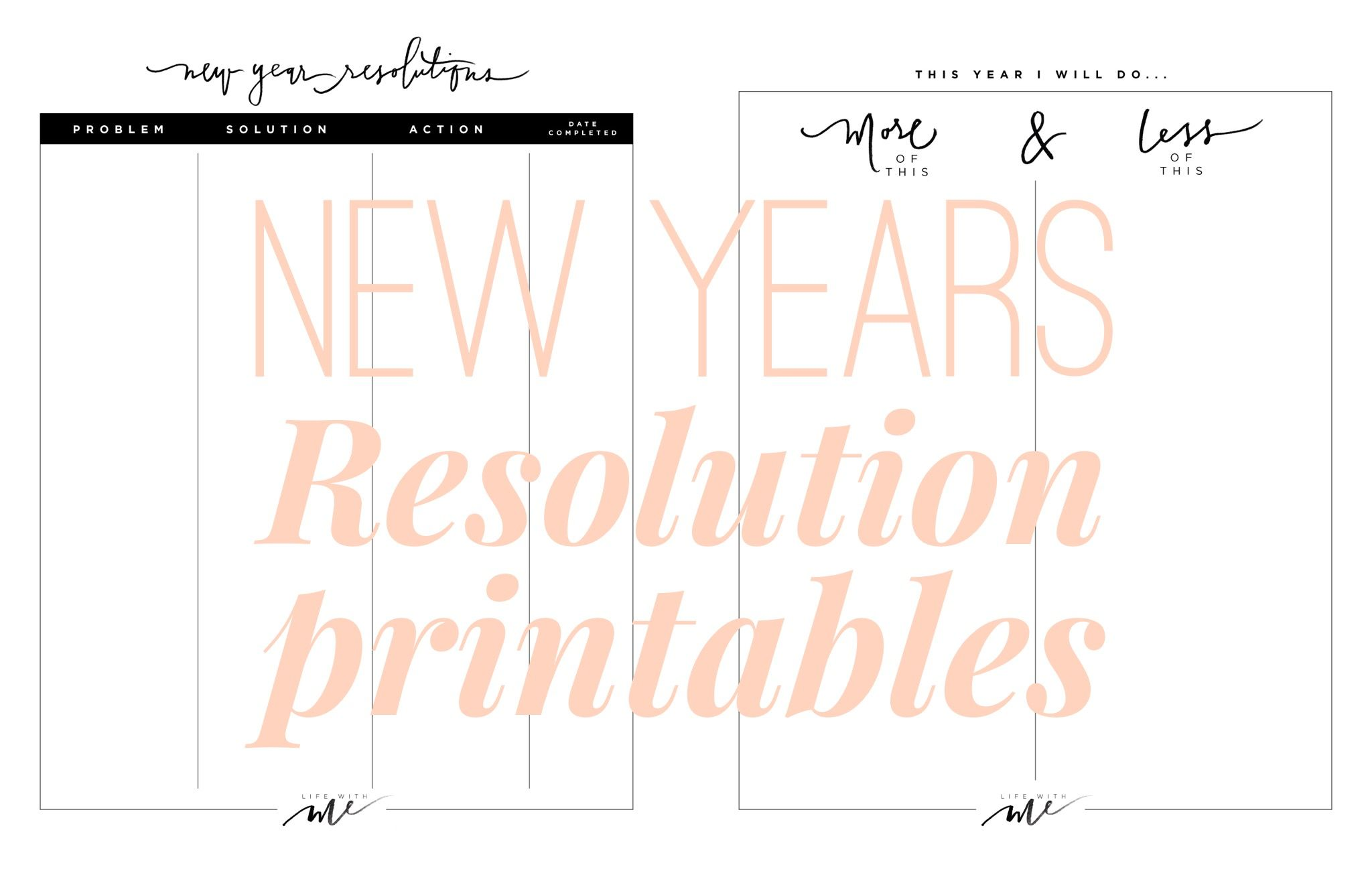 Marianna Hewitt New Year Resolution Goal Sheet Printable