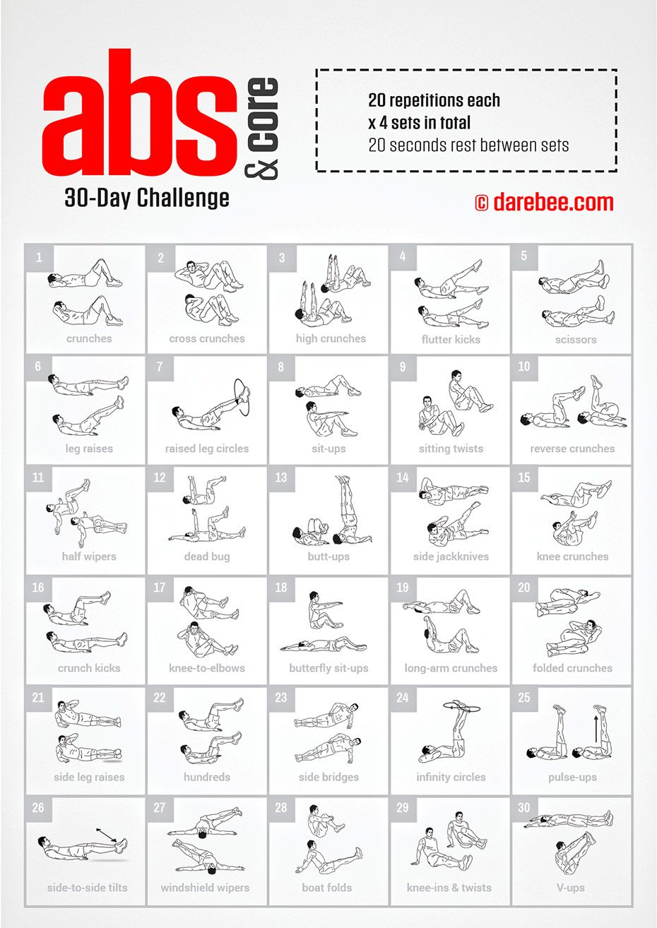 30-day abs & core challenge by darebee | fitness | pinterest
