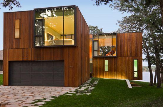Ideas de Casas de Exterior, estilo Moderno diseñado por ARQUIMADER - fachada madera