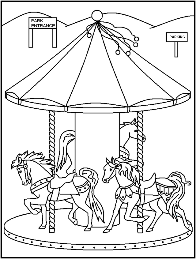 Beautiful Night Carnival Carousel Coloring Pages Horse Coloring Pages Coloring Pages Carnival Rides