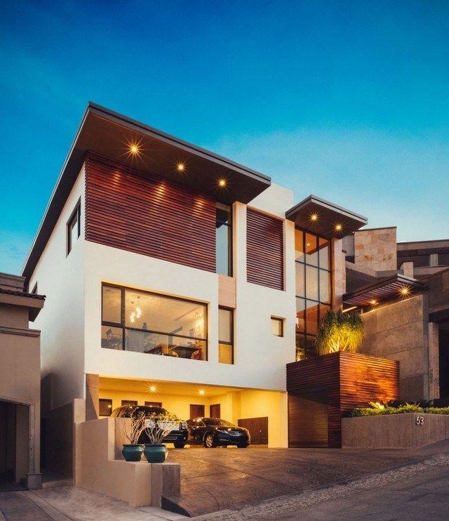 Einfamilienhaus Pultdach Beleuchtung Eingebaut Garage
