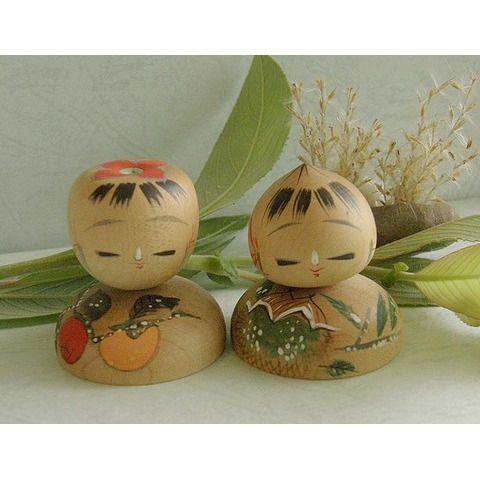 栗と柿の こけし人形 - 雑貨 -【garitto】