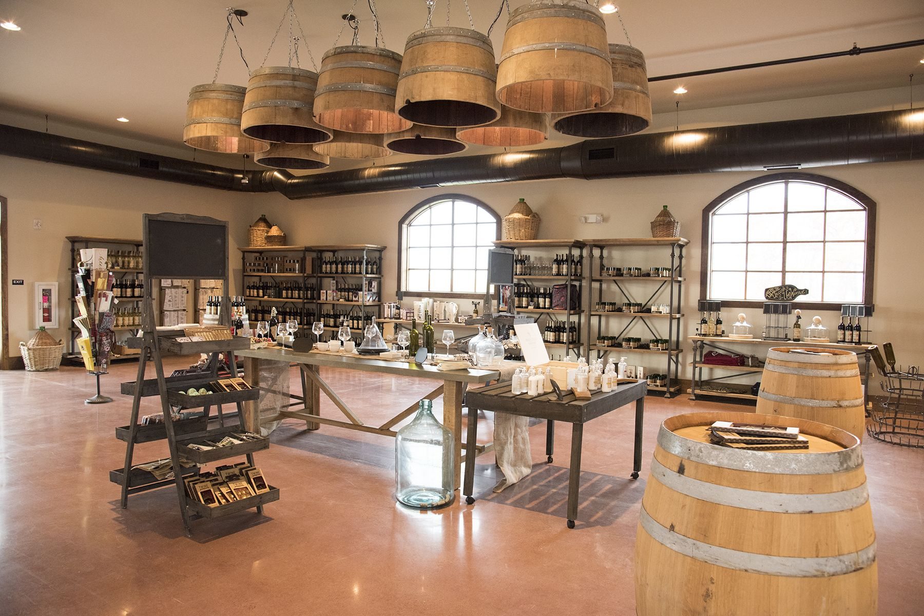 Wine Barrel Ceiling In Tasting Room Folino Estate Vineyard