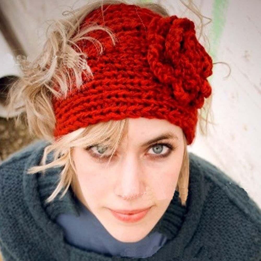 패션 가을 겨울 모직 꽃 머리띠 니트 크로 셰 귀마개 따뜻한 터번 헤어 밴드 Headwrap 여성 성인