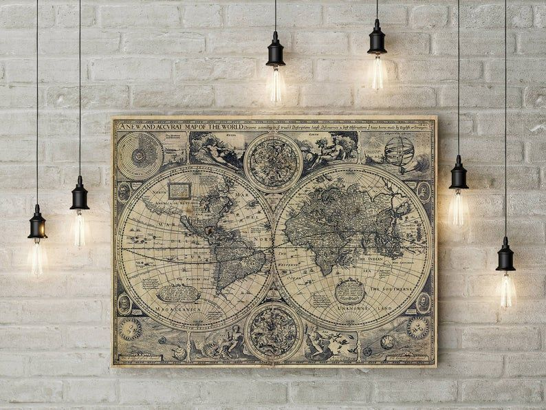 Vintage Old World Map 1626 Old Map Antique Restoration Etsy In 2020 Map Wall Art World Map Wall Decor Antique World Map