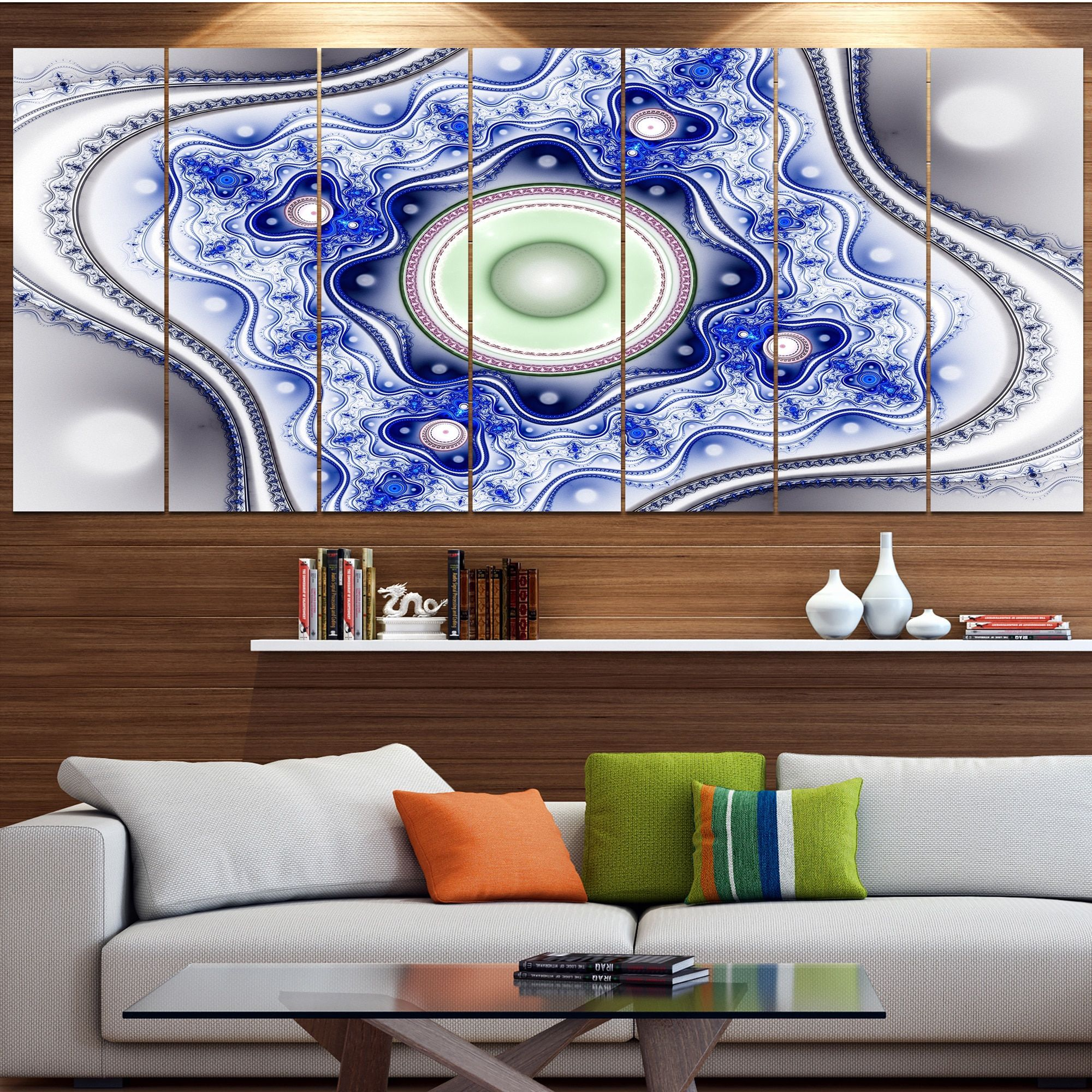 Designart Blue On Pattern With Circles Abstract Canvas Wall Art