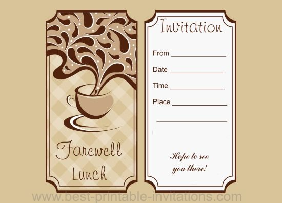 Farewell Lunch Invitation Free printable luncheon invites from www