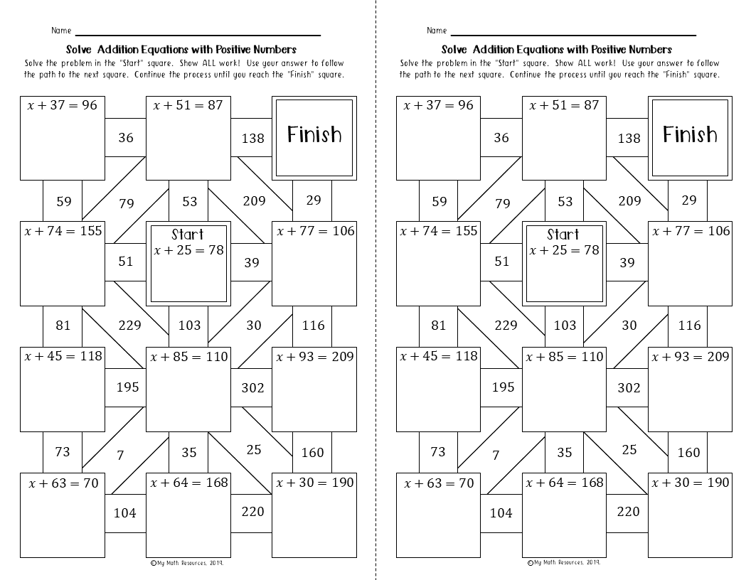 My Math Resources - Solving Addition Equations with Positive Numbers Maze    Fun math worksheets [ 816 x 1056 Pixel ]