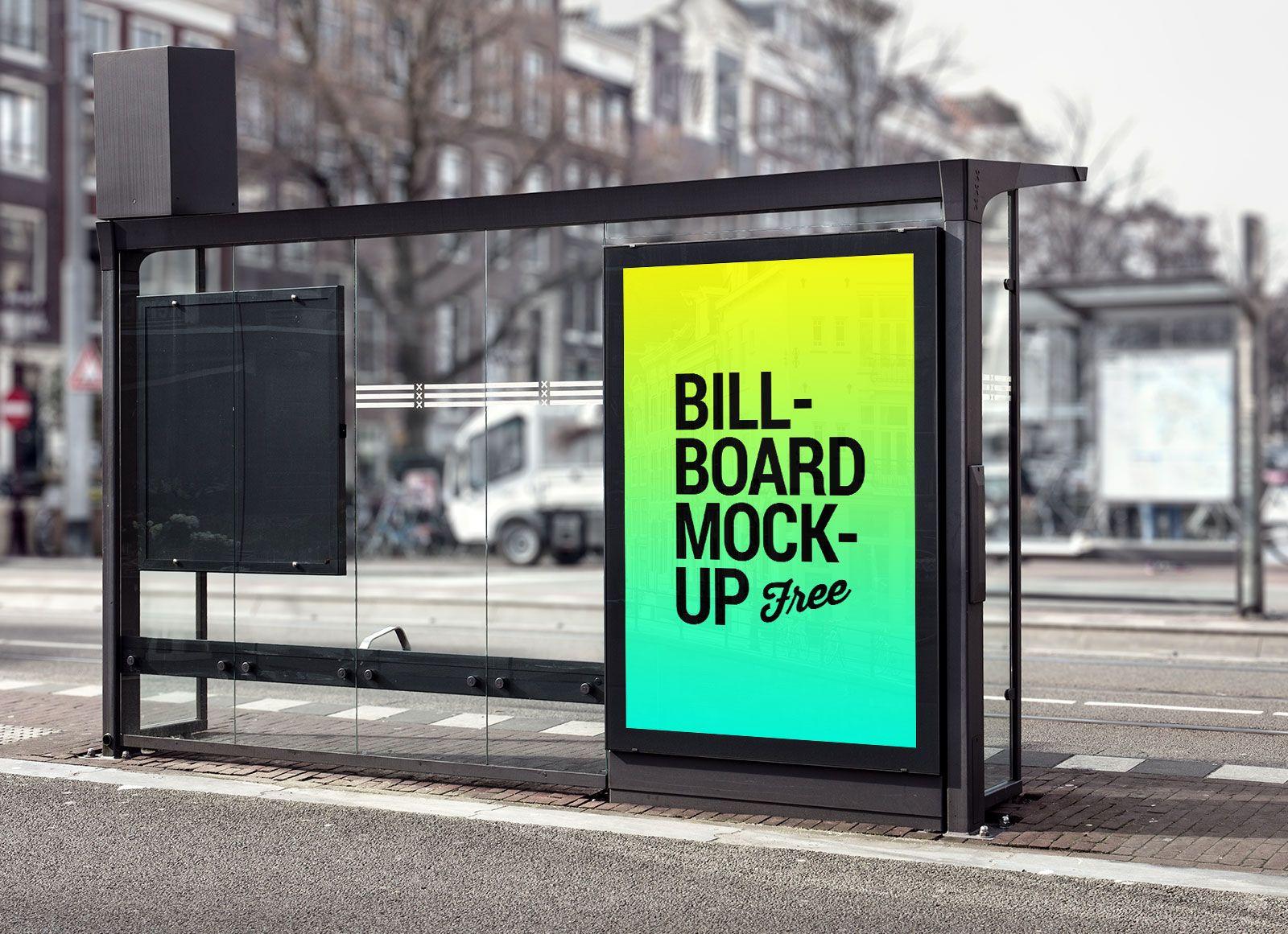 Free Bus Shelter Roadside Billboard Mockup Psd File Billboard Mockup Bus Stop Billboard