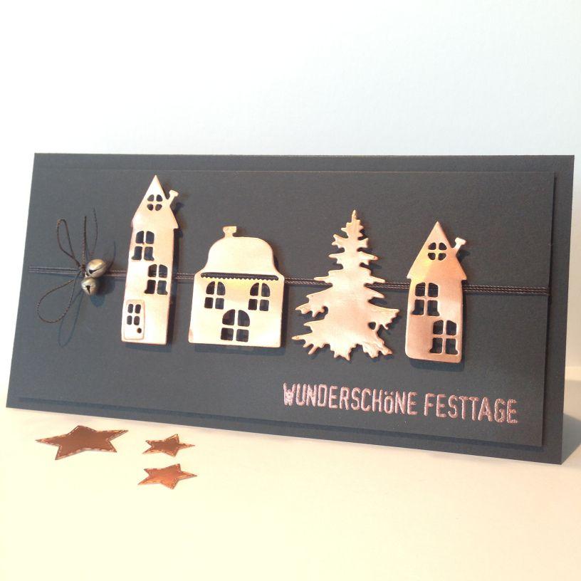 DIY edle moderne Weihnachtskarte in kupfer und schwarz