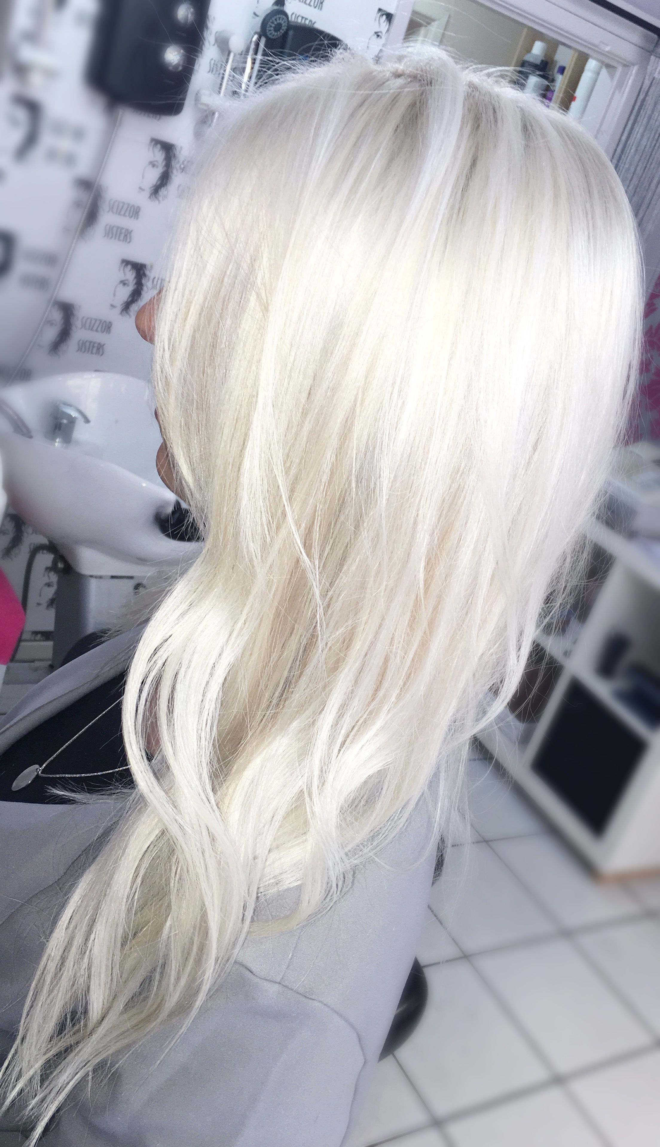 Gorgeous White Platinum Blonde Hair Toned With Matrix So Silver