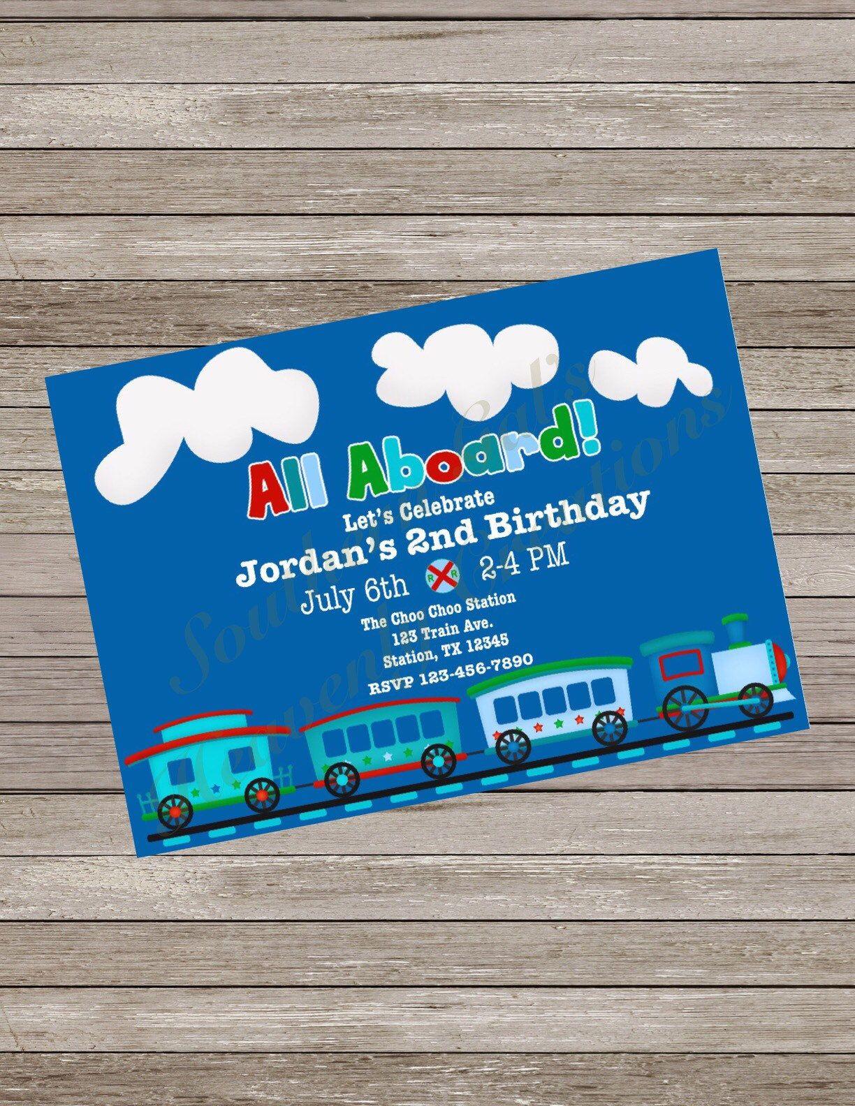 Train birthday party invitation, train party, train party invite ...