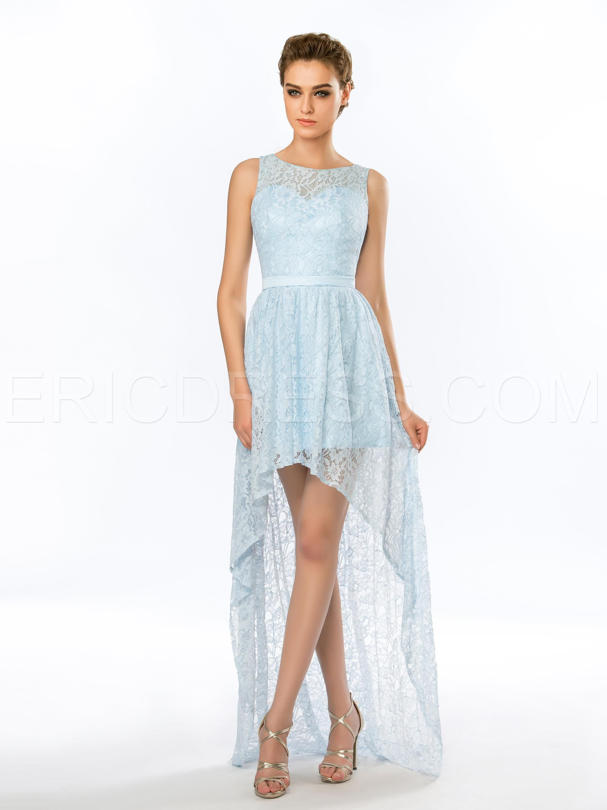 Delicate sleeveless asymmetrical lace long evening dress delicate