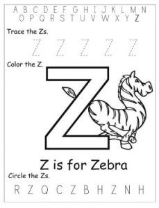Kindergarten Worksheet Of Small Letter Z