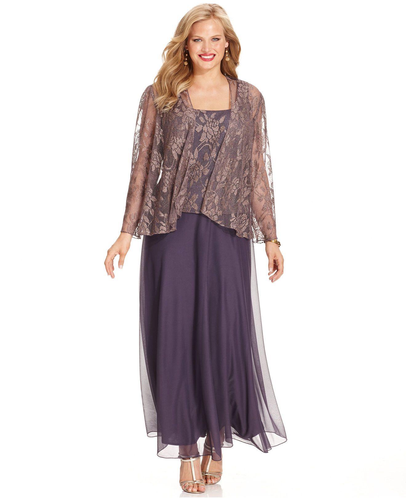 Lace dress macys  Patra Plus Metallic Lace Dress and Jacket  Dresses  Plus Sizes