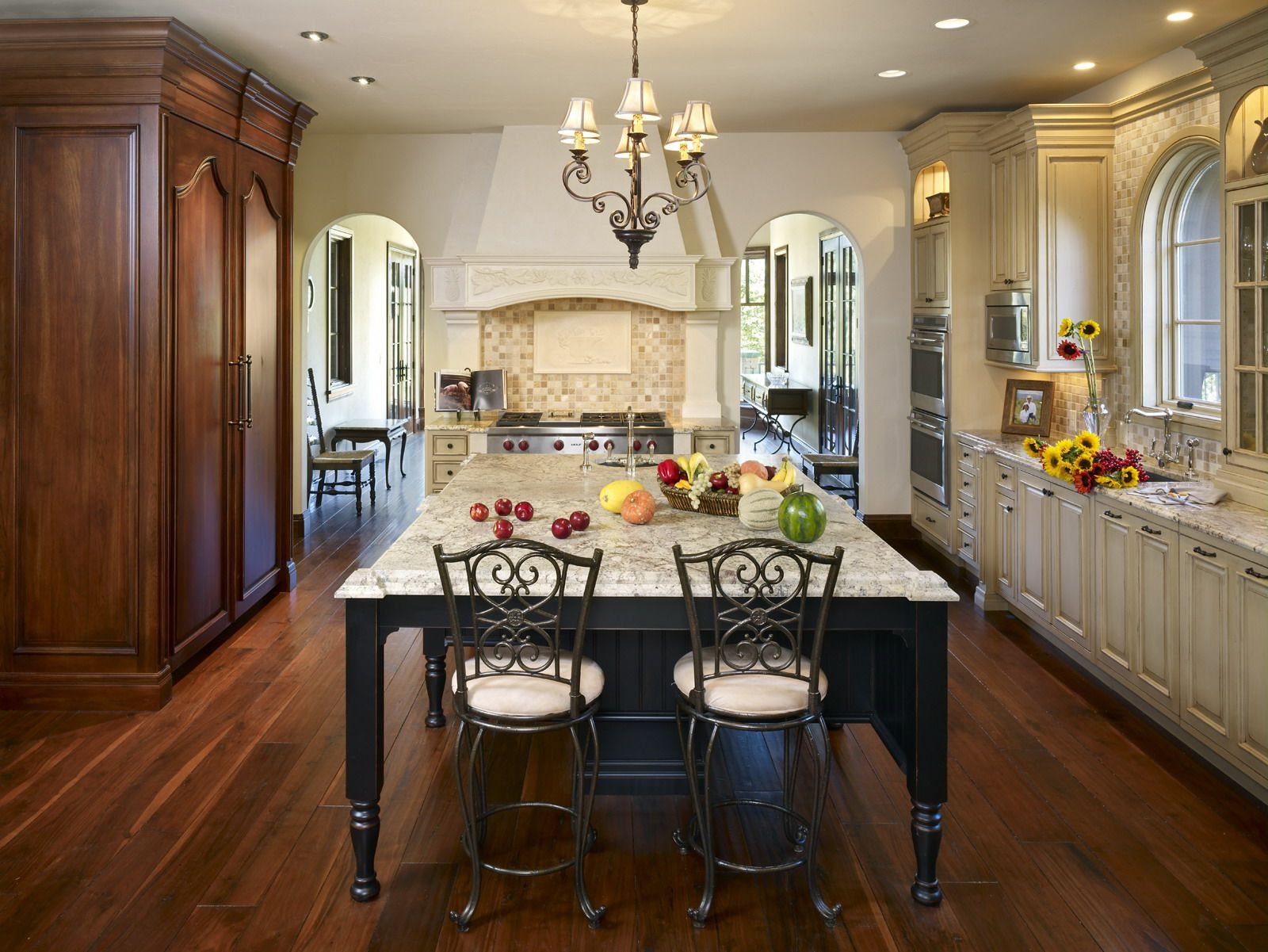 Refrigerator Armoire Is On The Left And Island That Looks Like A Table In The Middle The Island Granite Was Lea Kitchen Design Kitchen Decor Interior Design