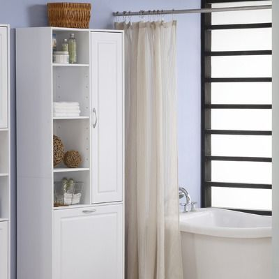 4d Concepts Storage And Laundry Tower In White Bathroom Storage Tower Bathroom Corner Storage Closet Furniture
