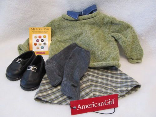 """American Girl 18/"""" Doll Kit Retired Overalls Hobo Outfit Striped Shirt ONLY"""