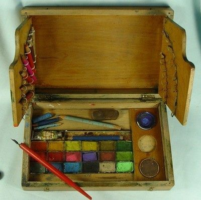 Bourgeois Aine Vintage Watercolour Artists Paint Box Colours Sans