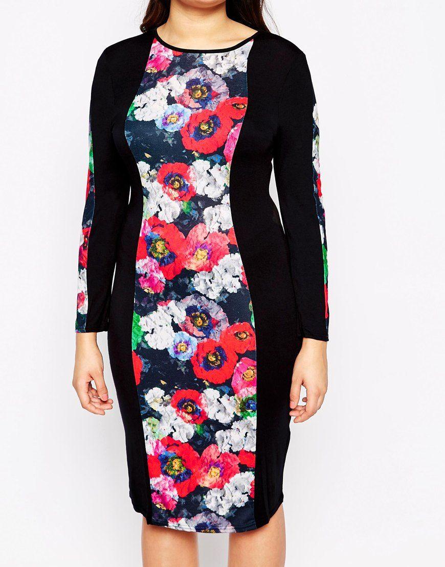 Image 3 ofClub L Plus Bodycon Midi Dress With Poppy Print Panel