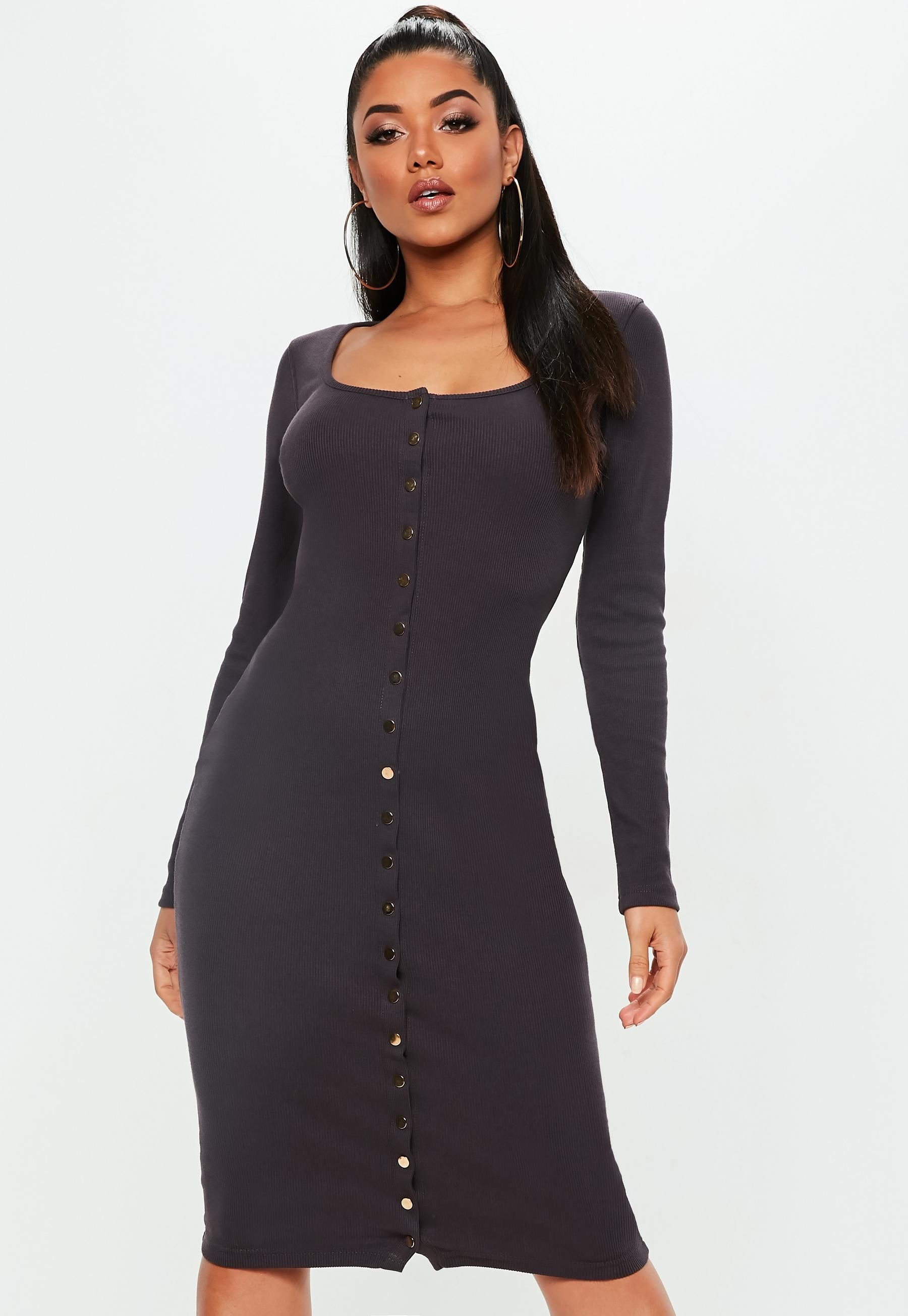 f0bad5d85188 Chocolate Long Sleeve Ribbed Popper Front Midi Dress