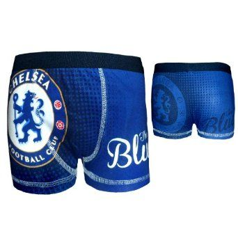 Chelsea FC Official Football Gift 1 Pack Boys Boxer Shorts Blue