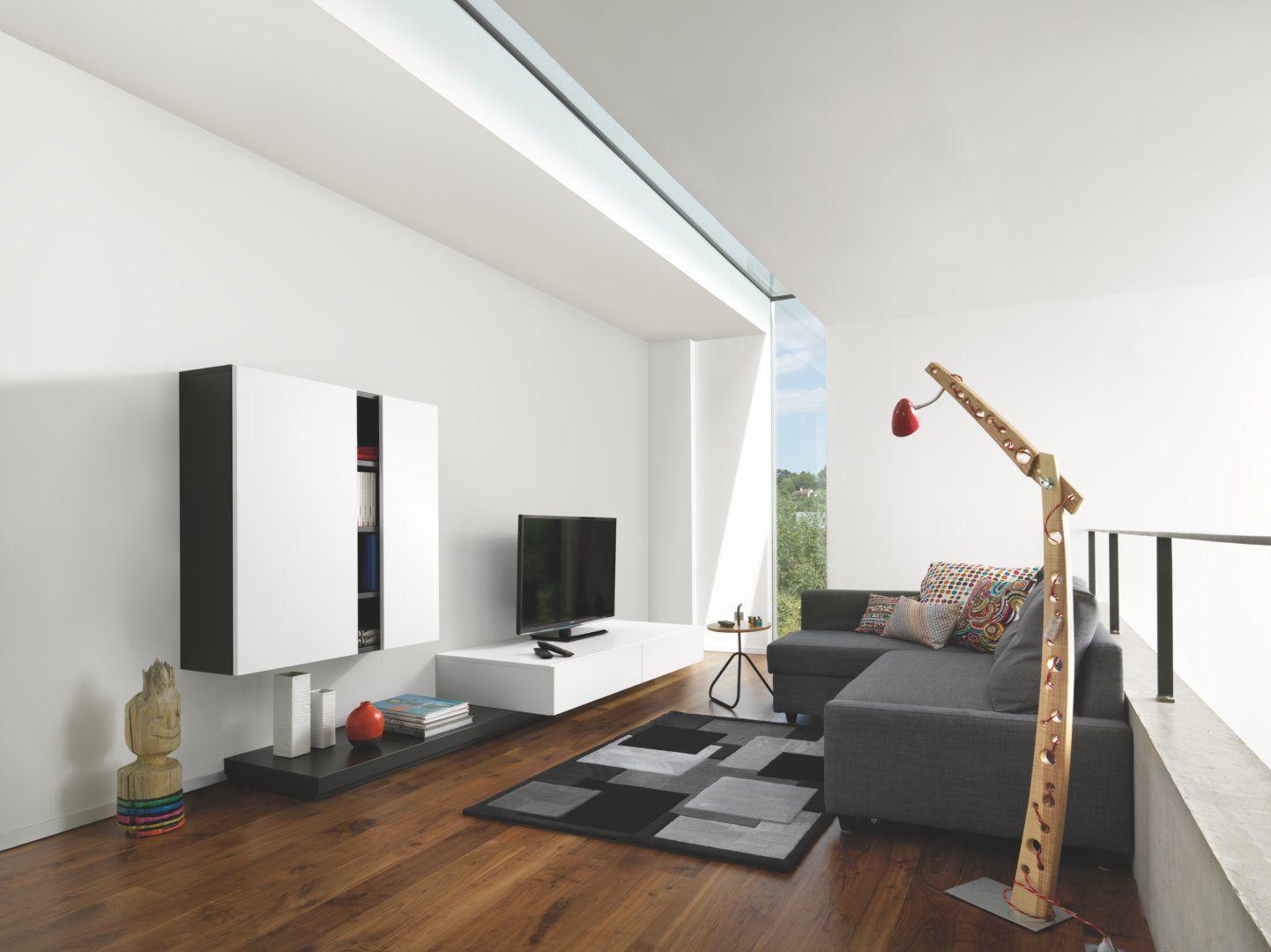 White & Grey combination, wall mounted, floating Tv unit, cinema ...