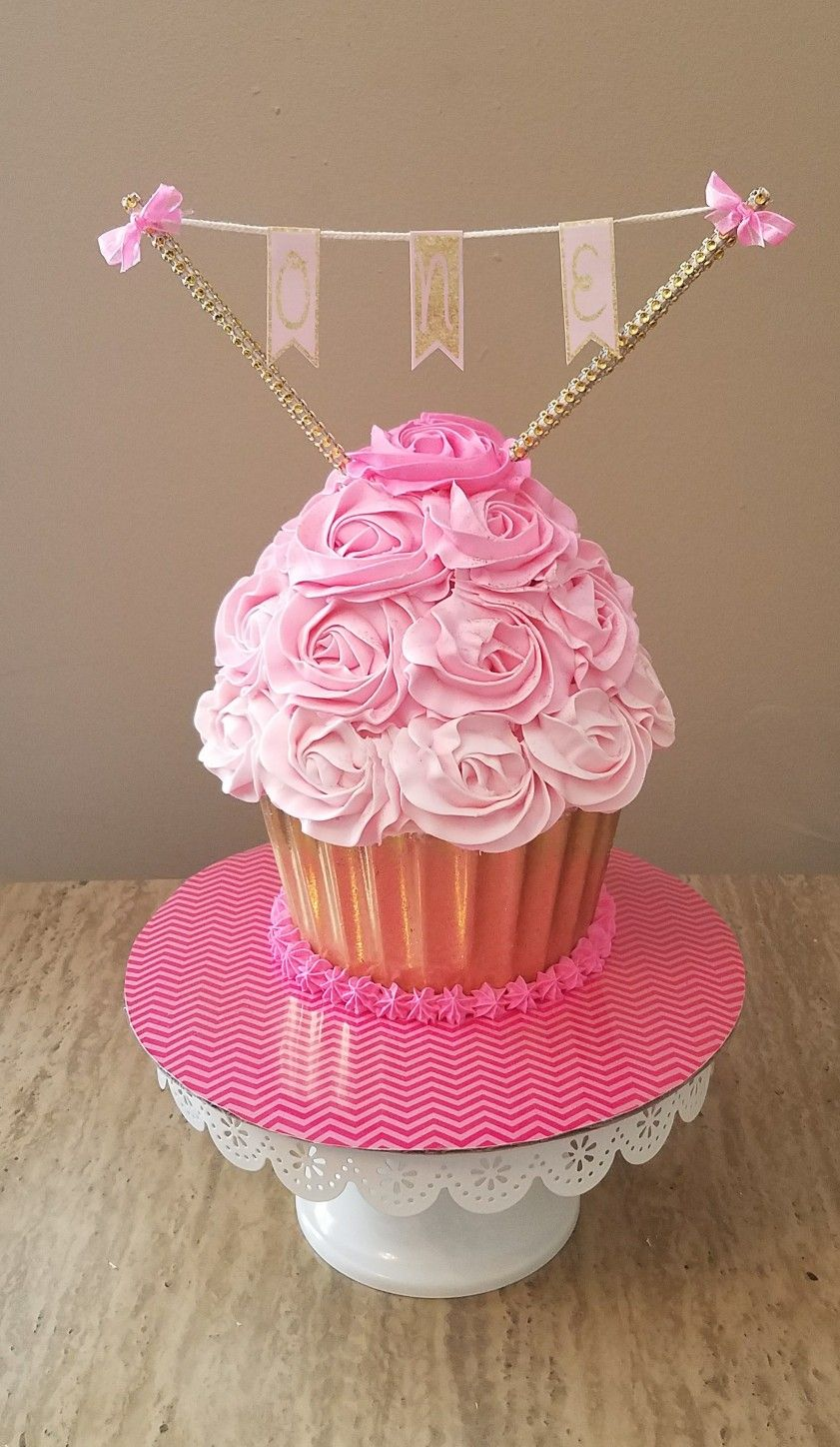 Fantastic Pink And Gold Giant Cupcake Smash Cake S Facebook Com Funny Birthday Cards Online Elaedamsfinfo