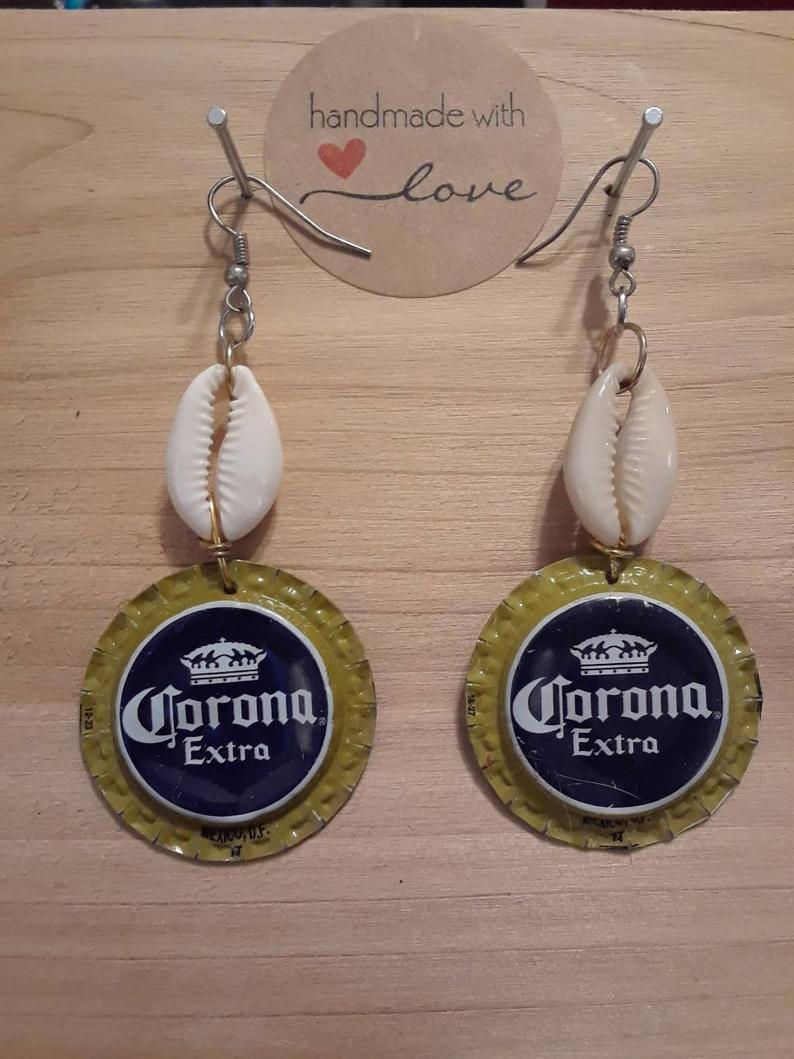Corona Beer Cap Bottle Cap Earrings Etsy In 2020 Bottle Cap Earrings Bottle Cap Jewelry Bottle Cap