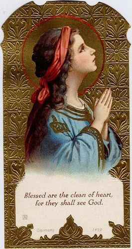 Vintage Prayer card Blessed are the clean of heart - Child virgin Mary