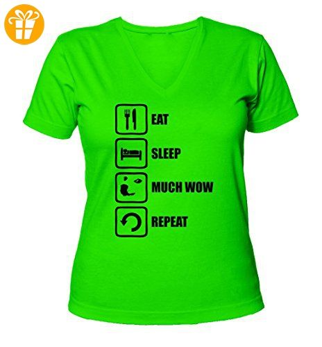 Eat Sleep Much Wow Repeat Funny Doge Meme Graphic Women's V-Neck T-Shirt