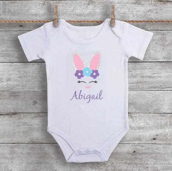 4c24318bfd1f9 Easter Bunny Baby Girl Shirt - Personalized Easter Shirt for Girls - Baby  Girl Easter Outfit