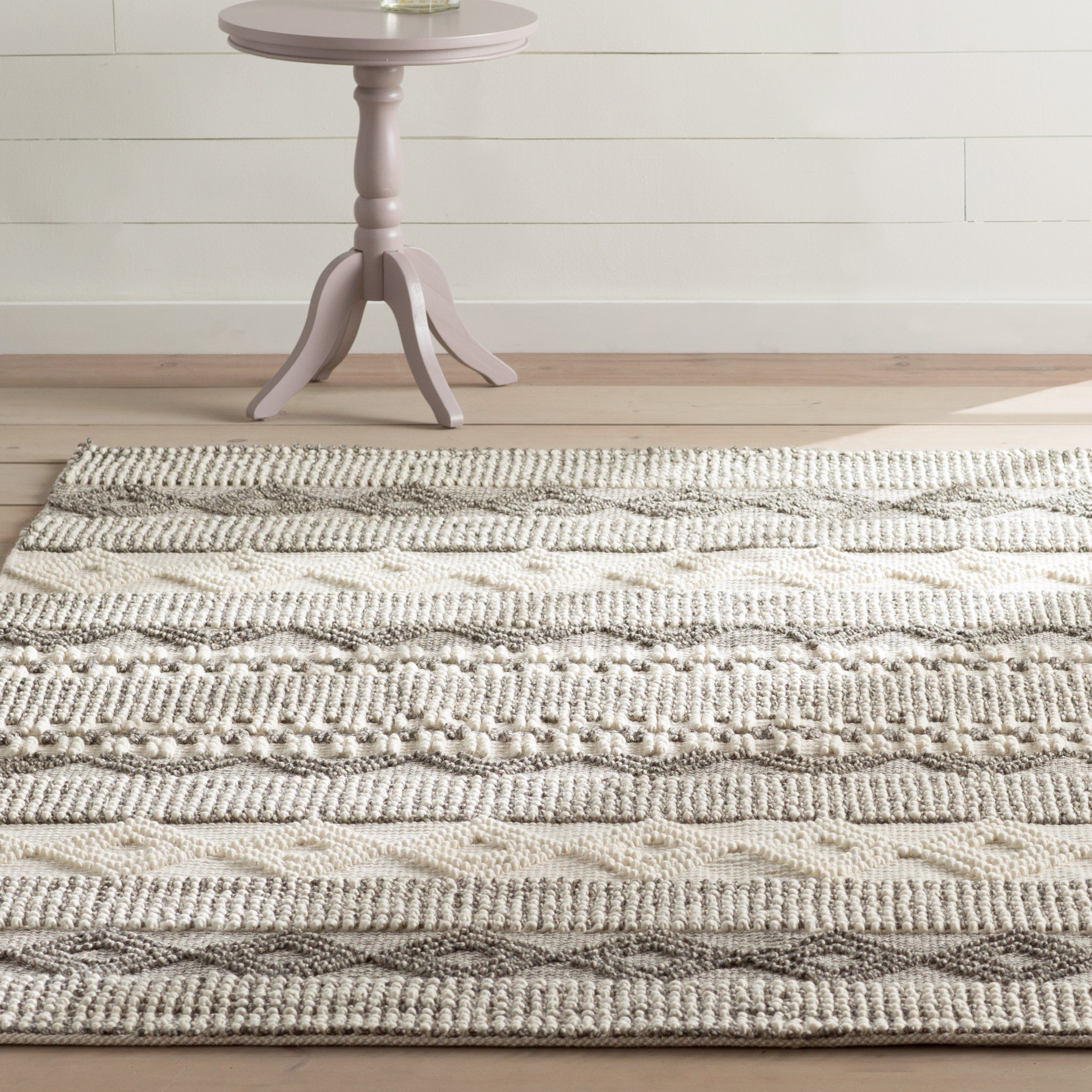 Billie Striped Handmade Flatweave Gray Ivory Area Rug