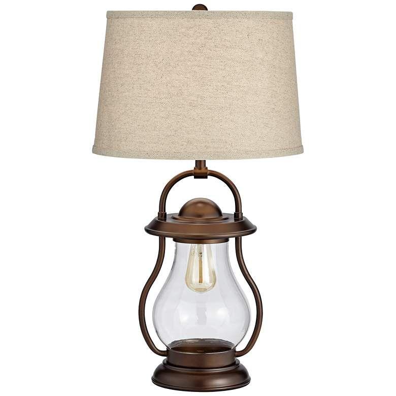 Fredrik Bronze Industrial Lantern Night Light Table Lamp 45p76 Lamps Plus In 2020 Industrial Table Lamp Table Lamp Lantern Table Lamp