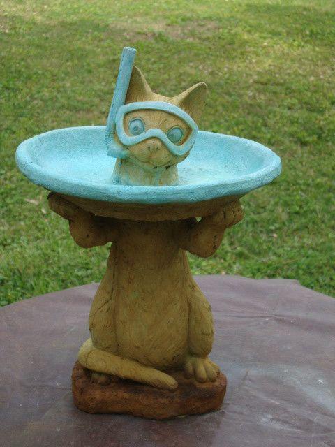 Lil Snorkel Cat Garden Bird Bath Statue Cement Concrete