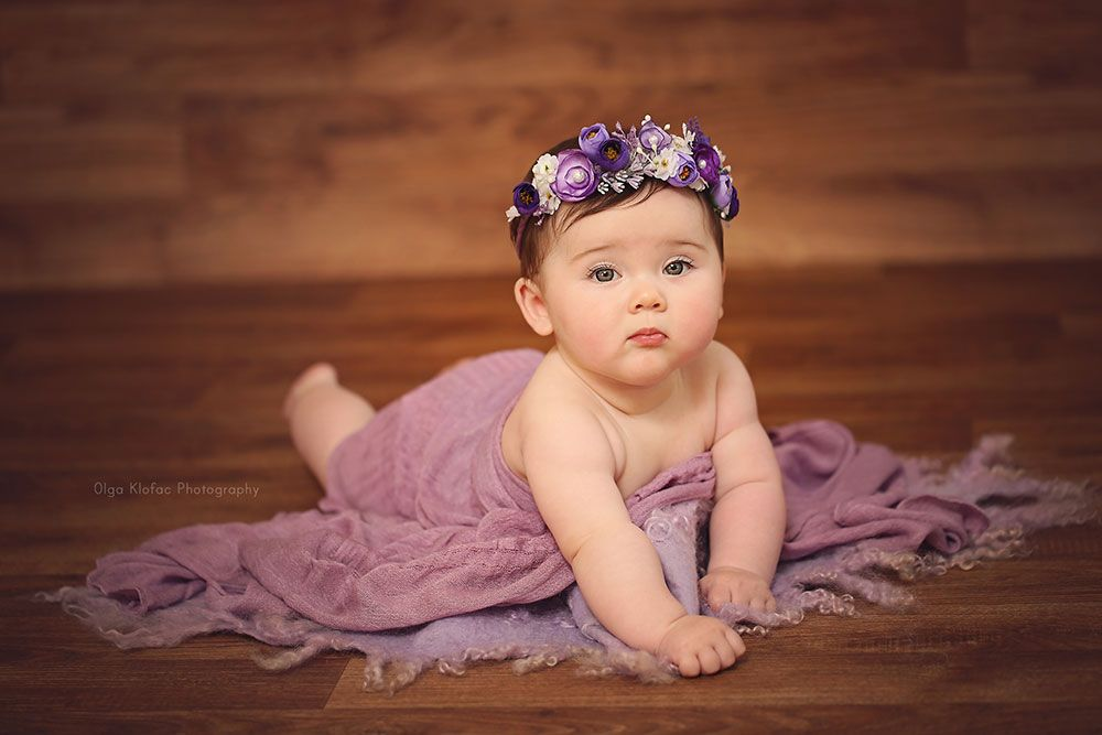 Gorgeous 7 month old baby girl unique fine art baby portraits by olga