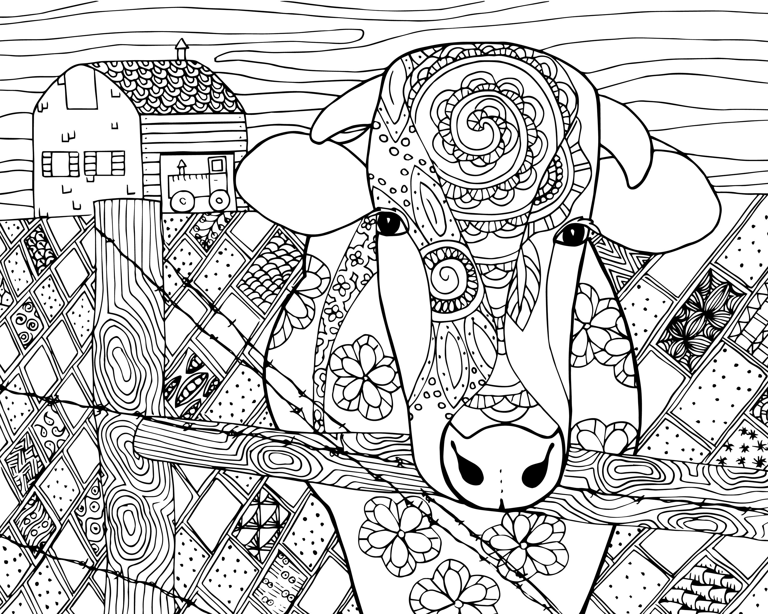 Cow Coloring Page For Grown Ups Cow Coloring Pages Farm Animal Coloring Pages Abstract Coloring Pages