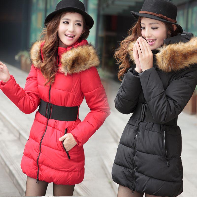 2013 Korean Fashion Warm Winter Women Fur Hooded Down Jacket
