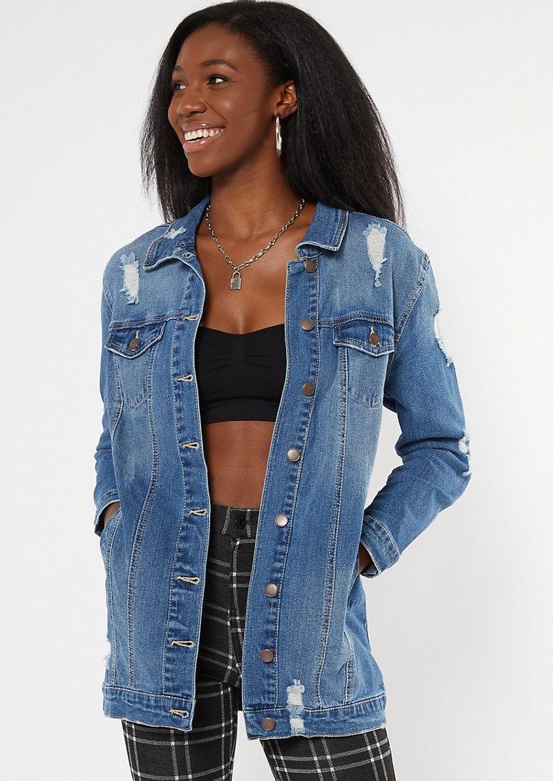 Dark Wash Ripped Longline Jean Jacket Longline Denim Jacket Denim Jacket High Waisted Skinny Jeans [ 1130 x 800 Pixel ]