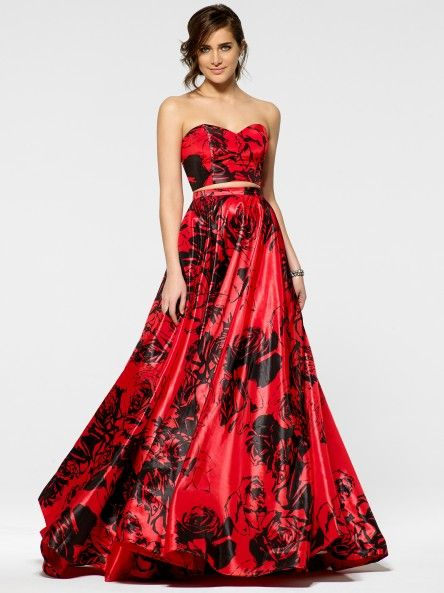 Black And Red Ball Gown Tina Knowles Curated Collection