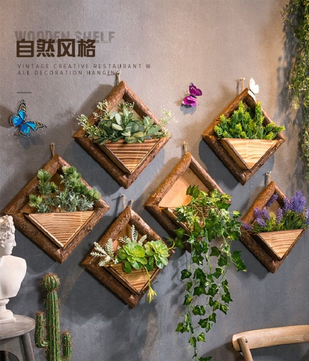 Creative Wall Hanging Wooden Flowerpots With Hemp Rope In 2020