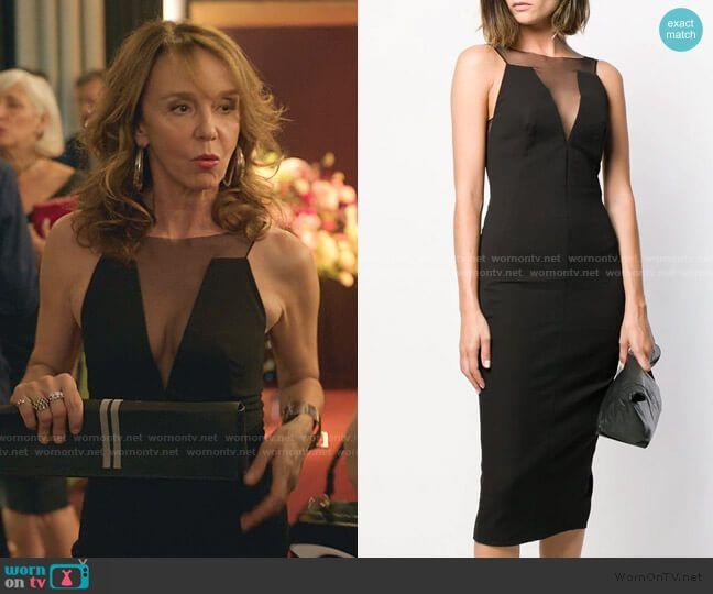 Sylvie's black mesh panel sleeveless dress on Emil