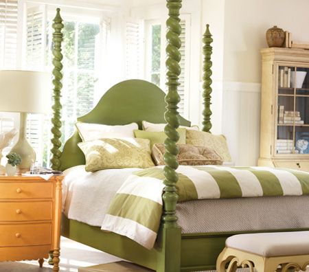 green poster bed & striped bedding